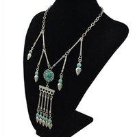 beaded opal earrings - Boho turquoise necklace tassel geometry beaded fringe necklace simple Aztec necklacee Vintage necklace Aztec turquoise necklace
