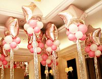 Wholesale Star balloon Latex Sliver cord ribbon wedding balloons Marriage decoration balloon Mylar Foil balloons set