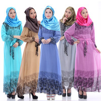 Wholesale Brand New MAXI DRESS Abaya kaftan farasha Jalabiya full long sleeve muslim dresses five colors direct shipping