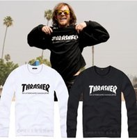 america c - C Men and women couples Thrasher scooter Street star Harajuku dead fly round neck sweater cool tide brand in Europe and America