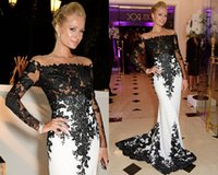 black and red evening dress - 2015 White And Black red carpet celebrity dresses mermaid formal evening gowns applique lace long sleeves prom dress BO6607