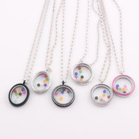 Cheap Floating Oval Locket Necklace Origami Owl Living Glass Charms Memory Locket Pendant Chain Necklace Wholesale JJAL ZN147