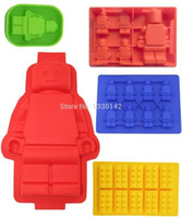 Wholesale 5x Silicone Lego Man Style Ice Cube Tray Ice Mold Chocolate Candy Soap Candle Jello Crayons Maker