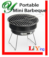 Wholesale mini bbq grill charcoal barbeque air vent BBQ tool round steel black cm wire mesh height adjustable with air inlet for Indoor outdoor set
