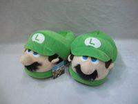 plush slippers - New cm super mario slippers adults slipper green luigi slippers plush Doll toy