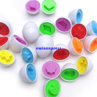 Wholesale 6pcs set Baby Kids Learning Education toys Eggs Puzzle Mixed Shape Wise Pretend children early education tools gifts