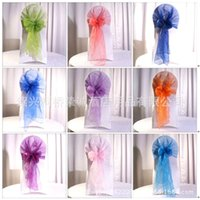 Wholesale High Grade Yarn Wedding Chair Yarn Fashion Muslin Bow Chair Yarn Chair Covers Colors Can Mix Choose Color