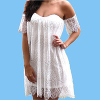 Wholesale Fashion White Lace Mini Dress Women Night Club Dresses Strapless Short Evening Party Dresses Beach Cover up Dresses YH079