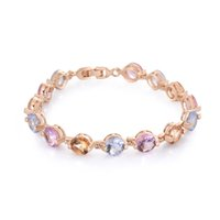 Wholesale Luxury design K gold plated charm bracelet with Zircon crystal fashion jewelry Top quality beautiful wedding gift