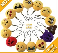 cute doll - 1000pcs Emoji Smiley Keychains cm cellphone pendant cute yellow Stuffed Plush doll toy bag pendant for Christmas gift
