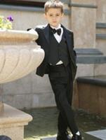 Wholesale Attractive Tuxedos Fashionable Kid Complete Designer Notch Lapel Boy Wedding Suit Boys Attire Custom made Jacket Pants Tie Vest