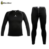 bike clothing - Sports Outside WOLFBIKE Thermal Fleece Base Layer Compression Clothing Under Wear Cycling Bike Long Sleeve Jersey Pant Winter Runing Tights