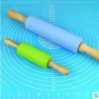 Cheap Large Size 31cm Vintage Wooden Handled Silicone Fondant Rolling Pin Cake Pastry Dough Roller Kitchen Tools