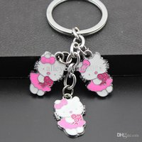 Wholesale-Girl Women's Lovely Rose Flower Hello Kitty Porte-clés Porte-clés / Pendentifs Pendentifs Cadeau pour enfants MO132