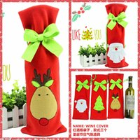 bags online - Hot Santa Milu Snowman Wine Bottle Covers Bag Merry Christmas Table Decoration Red Wine Bottle Cover Bags Gift Wrap Party Decor Cheap Online
