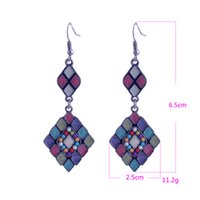 Wholesale 2014 New Listing Lureme Brand Vintage Style Colorful Rhombus Beads Alloy Dangle Earrings For Women Fashion Long Earring
