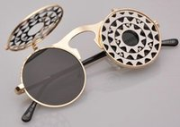 vintage fashion sunglasses - Vintage Steampunk brand Sunglasses men women fashion design Mirror round Frame flip sun glasses cheap colors good quality tyj010