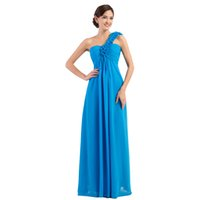 beautiful offering - Special Offer Cheap A line One Shoulder Red Yellow Gray Blue Long Bridesmaid Dresses Beautiful Empire Prom Dress