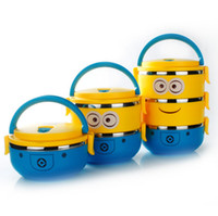 plastic lunch box - 1 Layer Cute Cartoon Minion Lunch Box For Kids With Plastic Tiffin Boxes Thermal Bento For School Students In Tableware