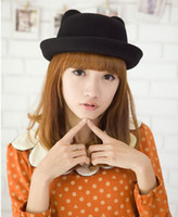 Wholesale 2015 Cute Women Girl Cashmere Stingy Brim Cat Ear Hats Outdoor Lady Casual Travel Caps DEH1