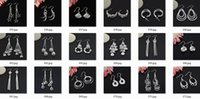 Wholesale 50Pairs pieces Mix Style Sterling Silver Plated Fashion Earrings Dangles with OPP Bags Factory Price Send type Randomly