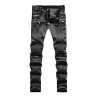 acid wash jeans - new designer straight jeans for men Stylish Fashion Stretch Slim Acid Black Washed Mens jeans balmain biker jeans Plus Size