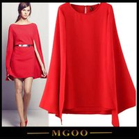 china clothes - MGOO Imported Cheap Clothes China Cotton Red Mini Dresses For Women Long Sleeves Split High Fashion Women Party Dress