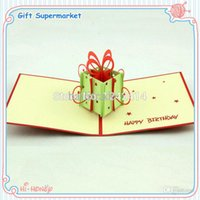 Cheap Happy Birthday Gift Box & Butterfly Greeting 3D Cards 150*150mm 3D Birthday Folding Type Cards Red Blue 10pcs Lot FREE SHIPPING