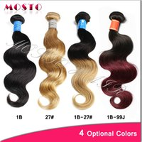 Wholesale 4 Colors Ombre Hair Brazilian Hair Weaves inches Human Hair Weave Body Wave Hair extensions bundles per Virgin Hair Wefts