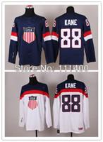 Cheap 2016 New, Mens #88 Patrick Kane White Blue Team USA 2014 Winter Olympics Hockey Jersey embroidery logo Size 48-56