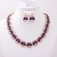 Wholesale Classic Crystal Rhinestone Purple Resin Heart Shape Necklace Earrings Fashion k Gold Plated Wedding Bridal Costume Jewelry Sets