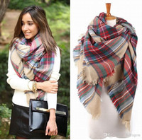 Wholesale women fashion Plaid Scarf Warm Soft Winter Blanket Scarf Oversized Tartan Scarf women Shawl Scarf