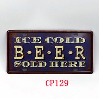 Wholesale CP129 Ice Cold Beer license plate Vintage Metal Tin Signs Bar Pub Cafe Home Art Metal Signs Size about cm