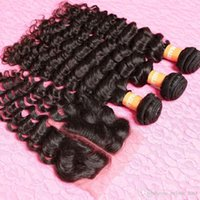 Wholesale Brazilian Curly nature Hair With Closure Hair Bundles With Lace Closures Brazilian Deep Wave With Closure