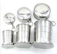 Wholesale Portable Stainless Steel Folding Drinking Wine Cup Mug for Outdoor Travel Camping Picnic Key Chain Collapsible Telescopic Cups Retail Box