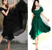 summer dresses for women - 2015 New Korean Style Women Pleated Maxi Chic Prom Dress for Evening Chiffon Women Clothing Vintage Long Summer Casual Dress