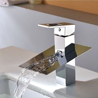bath sink tops - Top Grade Chrome Finished Basin Faucet Waterfall Sink Mixer Tap Single Handle Brass Water Spout Vessel Spray Bath Washing Tools order lt no