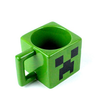 Wholesale New Christmas Cartoon Minecraft Creeper Face Ceramic Coffee Mug Green Color Drinkware Mugs Cups Water Bottles Christmas Decorations Free UPS