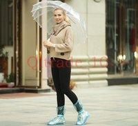 anti slip overshoes - 300PAIR HHA350 Rain Flat Heel Fashion Reusable Waterproof Shoes Cover Waterproof Non Slip Overshoes PVC Rain Boots Men Women Anti Slip