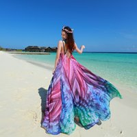 Wholesale 2016 New Summer Rainbow Women Bohemian Dresses Sexy V neck Backless Chiffon Boho Holiday Long Skirt Plus Size
