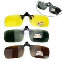 Wholesale W110New Hot Clip on Flip up Lens Polarized Day Night Vision Sunglasses Driving Glasses S M L