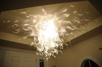 ac crystal - AC v Transparent Hand Blown Murano Glass Shade White Chihuly Style Flush Mounted Ceiling Crystal Chandelier with LED Light Bulbs