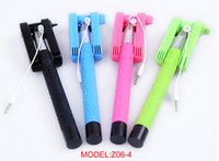 Wired Stainless Steel  new Original KJSTAR Z06-4 colorful 3 in 1 Audio Wired Cable Extendable Handheld Stick Selfie Collapsible Holder for phones DHL ZKT