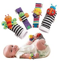 baby wrist rattle - 20pcs Rattle Baby Toys High Contrast Garden Bug Wrist Rattle Foot Socks a set Colorful H00862