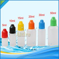 plastic bottles with lids - 5ml ml ml ml ml ml Thin Long Lid Softer Dropper Bottle Plastic Needle Bottles With Varible Colors Child Proof Caps for E Juice