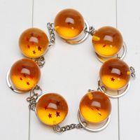 Wholesale 2 cm Dragon Ball Z Stars Crystal Balls Keychain Pendant Keyring star Christmas gifts with bag