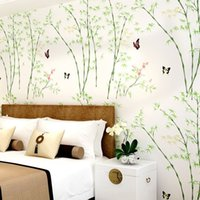 bamboo reflection - Nature Scenery D Green Bamboo Embossed Flocking Non woven Wallpaper Breathable Mural Living Room Backdrop Wallpaper M