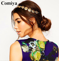 best hair metal bands - Fashion style Brand Gold alloy coin women headbands metal shinny sparkling hair band Hair Accessories best friend indian jewelry