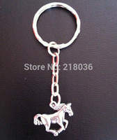 Wholesale 50pcs Vintage Silver Horse Pendants Key Chains Key Rings Car Bag Charms Accessories Findings Fashion Jewelry P48