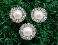 Wholesale 50pcs mm Double Row Rhinestone Pearl Buttons Flat Back Wedding Bling Bridal Emellishment Used On Invitation Card Silver A03